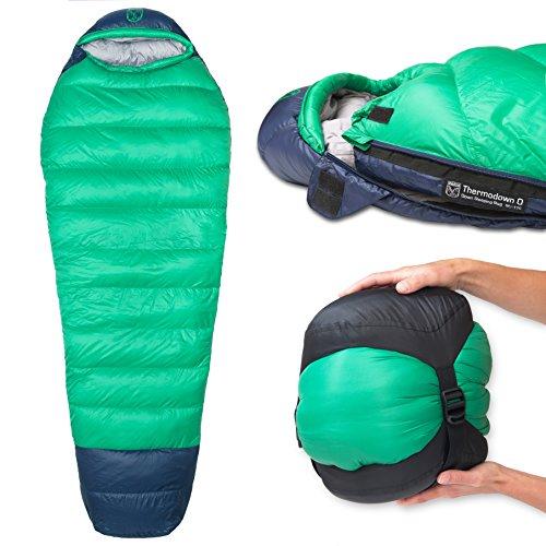 Paria Outdoor Products Saco de Dormir Tipo Momia Thermodown, a 0 Grados - Clima frío Ultraligero, Bolsa para 4 Estaciones Camping y Viajes de mochileros (Regular)