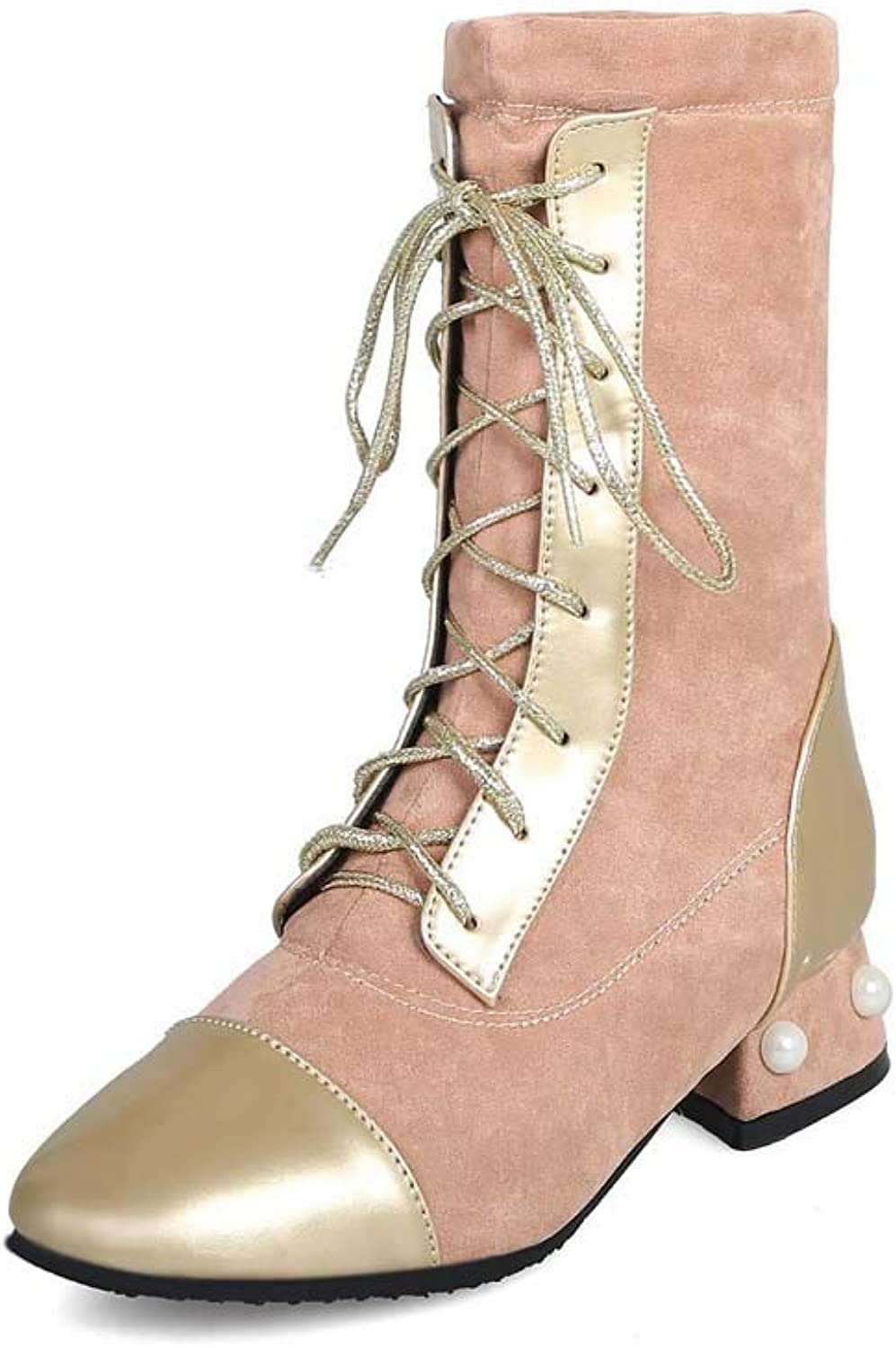 Women's Boots, Square with Heel 34-43 Large Size Lace-up Boots Black, gold, Silver