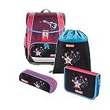 """Step by Step Schulranzen-Set Light """"Popstar"""" 4-teilig, pink-schwarz, Sterne-Design, ergonomischer Tornister mit Reflektoren, höhenverstellbar für Mädchen 1. Klasse, 18L"""