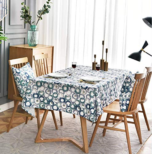 SJXCDZ Rectangle Decorative Table Cover, Blue color printed circle Washable Picnic Cloth