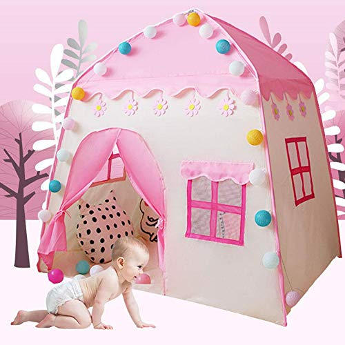 Childlike Tienda De Juegos para Niños, Tienda Campaña Infantil Playhouse, Casa De Campaña De Tela con Varilla De Soporte, Tepee Tent Carpa De Juegos para Niños, 130x95x130cm