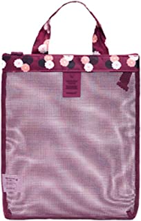 TOPBATHY Portable Beach Mesh Tote Bag Beach Bag Swimsuit Toys Storage Bag Sports Handbag for Beach Pool Boat Family Activity  Wine Red Flowers