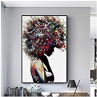 黒人女性の落書きアート壁にキャンバスの絵画アートポスターとプリントアフリカの女性現代アート写真家の壁の装飾60x80cm(24x32in)