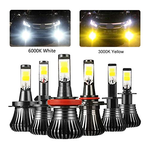 RxDZY 2 stuks COB H1 H4 H7 H8 H11 9005 Driving 6000K 3000K Amber Yellow Car Mistlichten lampen Dual Colour Auto LED-lampen Hoge kwaliteit (Color : White YellowH3)