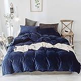 LIFETOWN 100% Velvet Duvet Cover Navy Blue King Size Duvet Cover Set 3 Pieces, Super Soft and Warm