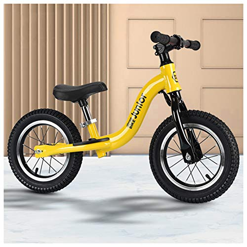 QMMD Bicicleta 14 Pulgadas para Niños de 4-9 años Bicicleta Sin Pedales para Niños y Niñas Correpasillos Regalos SillíN Regulable Bicicleta Equilibrio,Amarillo