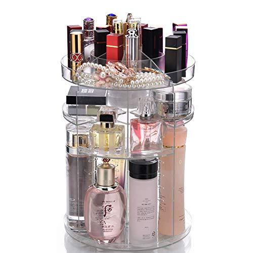 Afulili Organizador de maquillaje grande de 360 grados para joyas, cosméticos, perfumes, caja de almacenamiento para aparador,...