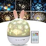 URAQT Lampara Infantil Proyector, Proyector de Luz Nocturna para Bebes, Proyector Estrella Giratorio con Función de...