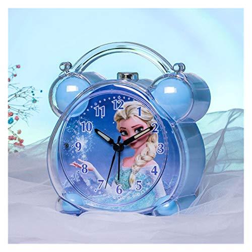 wysjlxcy Despertador para niños Alarma de Dibujos Animados Winnie Reloj Aisha Princesa niña Linda BedHead Luminoso de Alarma Música Niños Lindos de Despertador Aguja de plástico (Color : Blue Frozen)
