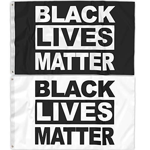 N&S Black Lives Matter Flag 3x5, 2 Pc Set, Protest, Front Yard, UV and Weather Resistant, BLM, Black Lives Matter