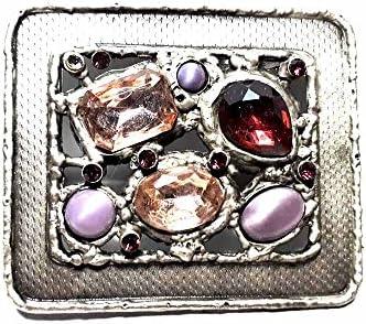 artigianale Hebilla para cinturón de 4 cm, piedras moradas amatista, color plateado antiguo, hebillas de metal o piedras o estrás o esmaltes o cristales muranos y 1 llavero de 1 CC