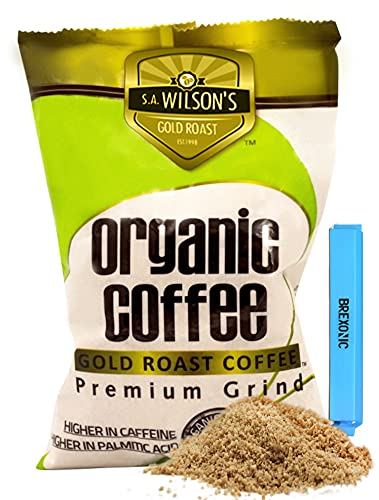 SA Wilson Organic Coffee Enema for Weight Loss Detox and Cleansing, Colon Cleanser and Detox Coarse Ground Coffee - with BREXONIC Clip (1 Pound, 1 Pack)