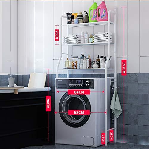 Estante de la lavadora Lavadora doméstica bastidor de la máquina, máquina de lavado de bastidor de pie, tambor de lavadora balcón estante, mueble de baño de almacenamiento higiénico ordenado (negro, b