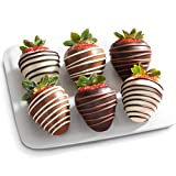 Orders received Mondays-Thursdays before 8:00 am PST/11:00 am EST will arrive next day. Orders placed after the Thursday cutoff time will ship the following Monday for delivery Tuesday. A delictable mix of 6 strawberries dipped in real dark, milk and...