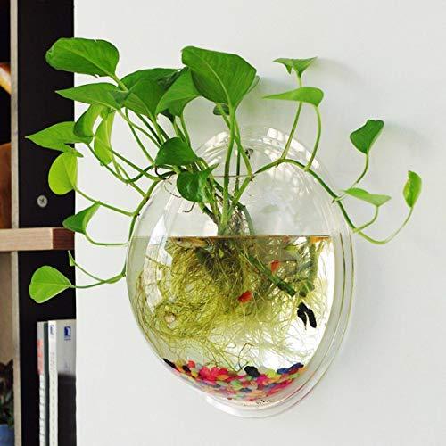 Depory Décoration Murale à Suspendre Fleur Vase en Acrylique Pot de Fleurs Plantes d'aquarium Réservoir Transparent Poisson Bols pour Home Garden Decor