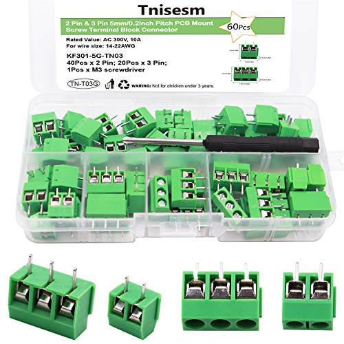 Tnisesm/60pcs 2 Pin & 3 Pin 5mm/0.2inch Pitch PCB Mount Screw Terminal Block Connector (Can be Spliced) TN-T03G