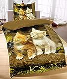 Bettwäsche Katzen 2tlg. Katzenbabys 135x200 cm (80x80 cm) 100% Baumwolle