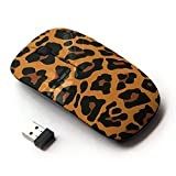 STPlus Leopard Print Pattern (Orange) 2.4 GHz Wireless Mouse with Ergonomic Design and Nano Receiver
