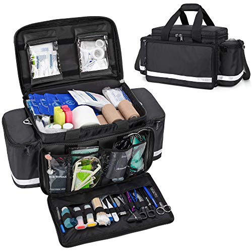 Trunab First Aid Bag Empty Medical Duffel Bag First Responder Trauma Bag Storage Bag with Inner Dividers and Anti-Scratch Bottom, Ideal for EMT, EMS, Paramedics, Bag Only, Black