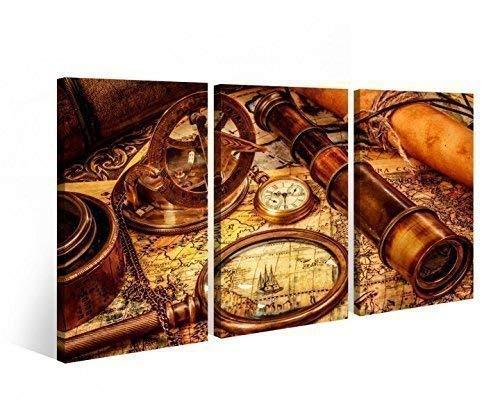Leinwand 3 tlg. Karte Kompas Fernrohr Weltkarte Map Druck Bilder Wandbild 9B750 Holz - fertig gerahmt - direkt von Hersteller, 3 tlg BxH:120x80cm (3Stk 40x 80cm)