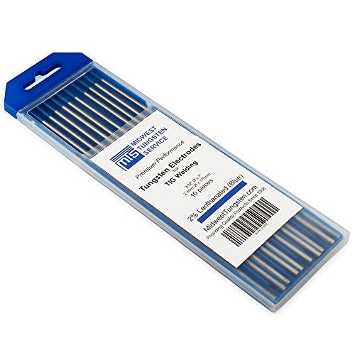 Electrodos de tungsteno de soldadura TIG 2% lanthanated 2,4 mm x 175 mm (azul WL20) paquete de 10