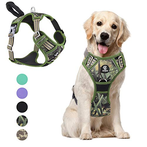 VavoPaw Dog Vest Harness, No Pull Design Pet Soft Padded Reflective Leash Chest Harness with Adjustable Strap for Various Sizes Dogs, Easy to Control, Upgraded, Size Large, Forest Camouflage