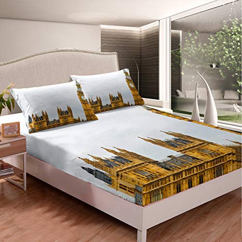 London Fitted Sheet Deep Pocket, Big Ben England Bed Set Double Size For Kids Teens Adult, City Building Bedding Set, Travel Scenery Famous Urban Bed Cover Decorative Boys Girls Room