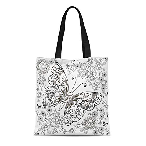 Semtomn Cotton Canvas Tote Bag Adult Butterfly Floral for Anti Stresa Coloring Book Page Reusable Shoulder Grocery Shopping Bags Handbag Printed