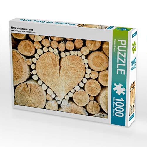 CALVENDO Puzzle Herz Holzmaserung 1000 Teile Lege-Größe 64 x 48 cm Foto-Puzzle Bild von Gerd Matschek