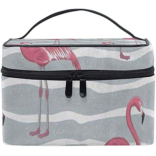 Trousse De Maquillage Rose Flamingo Bird Grey Girls Travel Cosmetic Bag Womens Toiletry Organizer