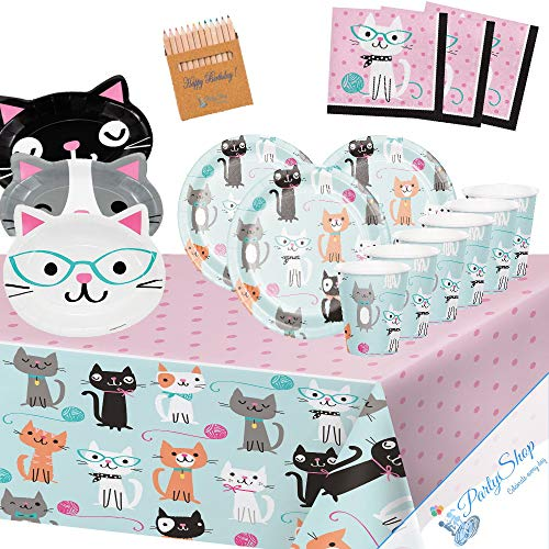 Générique Cat Party 8 Children Adult Birthday Taste Tea Decoration Tableware 1 Tablecover 8 Plates of 18 cm 4 Cathead-shaped Plates 8 Cups 16 towels