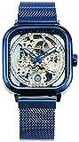 QHG Reloj de Pulsera Skeletón Skeletón de Moda Automática para Hombre Slim Malla de Acero Magnet Correa Correa Reloj de Pulsera analógica (Color : Blue)