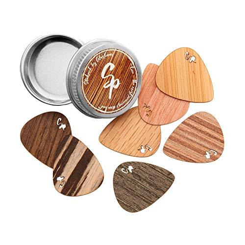 Stickpick | Set mit 7 flexiblen Gitarrenplektren aus edlem Echtholz | für E-, Akustik, und Bass-Gitarren in verschiedenen Stärken | in hochwertiger Aluminiumdose | Made in Germany