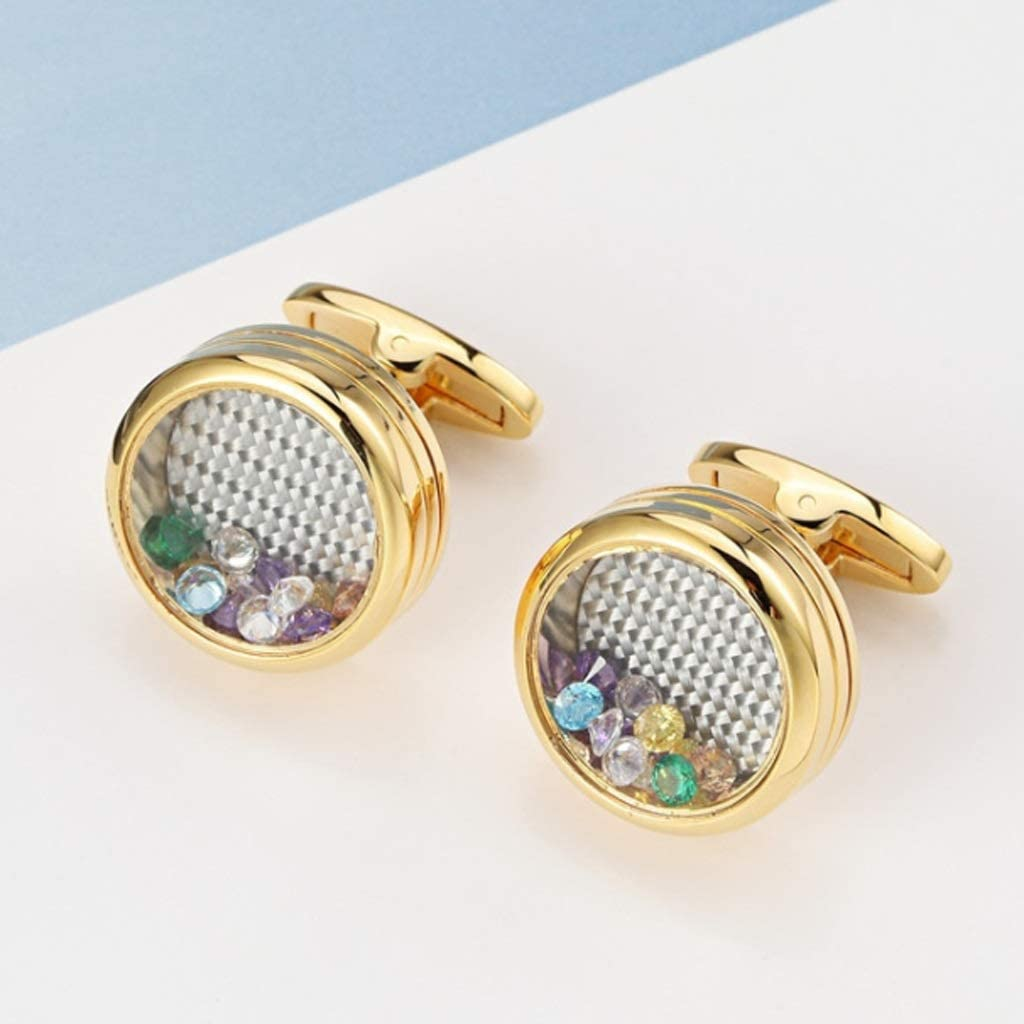 GYZX Men's French Shirt Cufflinks New Marbled Round Cuff Links Gold Color Gun Black Jewelry Gifts (Color : C)