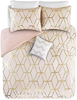 Comfort Spaces Vivian 3 Piece Comforter Set Ultra Soft All Season Lightweight Microfiber Geometric Metallic Print Hypoallergenic Bedding, Twin/Twin XL, Blush/Gold