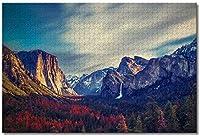 BEI YU MAN.co アメリカアメリカヨセミテ国立公園グレイシャーポイントカリフォルニア大人のためのジグソーパズルキッズ1000ピース木製パズルゲームギフト用家の装飾特別な旅行のお土産