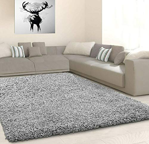 HMWD Thick Pile Fluffy Shaggy Large Area Rug Hallway Runner Non Slip Living Room Bedroom Anti-Shed Floor Carpet- Available in 10 Exquisite Colors (120x170 cm, 160x230 cm) (Silver Grey, 120x170 cm)