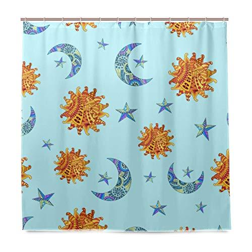 Lafle Wasserdichte Duschvorhänge Sonne Mond & Stern Home Decor Badezimmer Vorhang mit 12 Haken, 182 x 182 cm (72 x 72 Zoll)