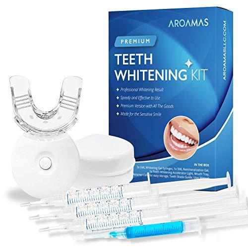 Aroamas Teeth Whitening Kit, With Led Light, for Sensitive Teeth, Comfortable Fit,...