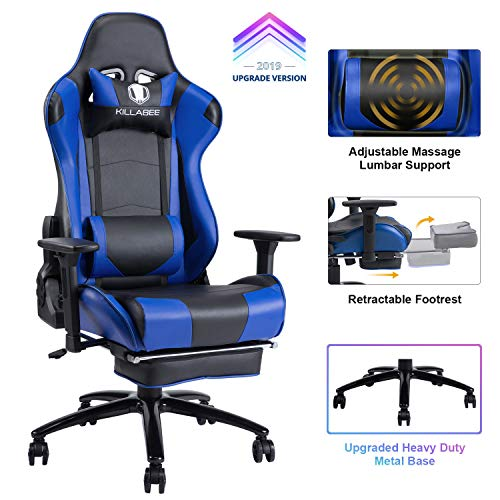 KILLABEE Big and Tall 350lb Massage Memory Foam Gaming Chair - Adjustable Massage Lumbar Cushion, Retractable Footrest and 2D Arms High Back Ergonomic Racing Computer Desk Leather Office Chair (Blue1) chair gaming
