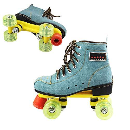 Erwachsene Doppelreihe Roller Skates Klassisch 4 Räder Künstlerisch Rollschuhlaufen, Echtes Leder Sehnenboden Rollschuhe Zum Jungs Mädchen Anfänger,45