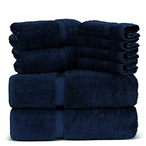 Towel Bazaar Luxury Hotel and Spa Quality Dobby Border 100% Turkish Cotton Eco-Friendly and Highly Absorbent Towel Set (Set of 8, Navy Blue)