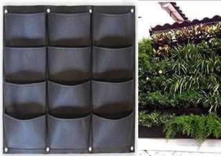 Garden Vertical Planter Multi Pocket Wall Mount Living Growing Bag Felt Indoor/Outdoor Herb Pot, 12-Pocket (3x4)