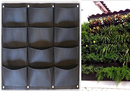Garden Vertical Planter Multi Pocket Wall Mount Living Growing Bag Felt...