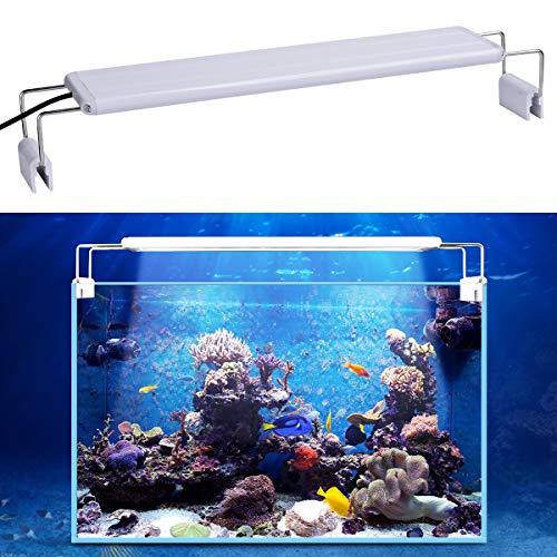 WEAVERBIRD Iluminación para acuario, 5 W, tanque de pescado, plantado, lámpara con clip de encendido con soporte ajustable para acuario,...