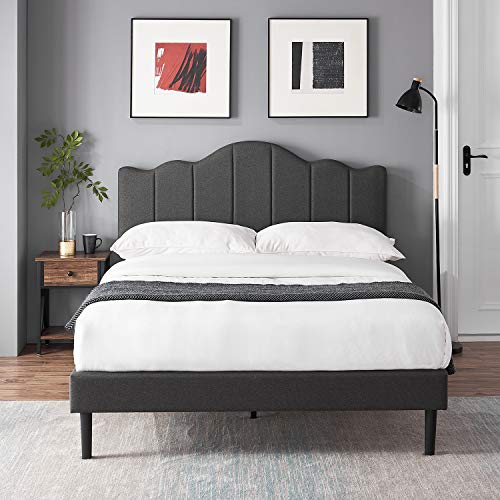 VECELO Upholstered Platform Bed/Mattress Foundation with Adjustable Headboard, Metal Frame/Strong Slat Support & Quick Assembly, Queen, Dark Grey