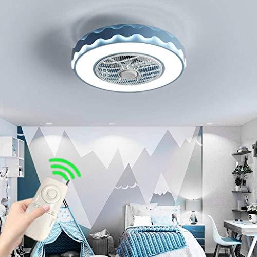 Deckenventilator Mit Beleuchtung Und Fernbedienung LED Deckenventilator Deckenleuchte Einstellbare Der Windgeschwindigkeit Und 4 Lichtfarben Windleitfunktion Für Schlafzimmer Wohnzimmer,Blau