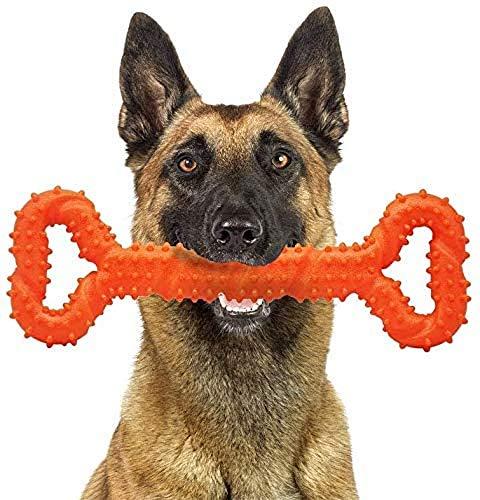 CMKJ Jouet pour chien pour mâcher agressif, jouet durable pour changer de dents pour chiens énergiques de taille moyenne et grande (orange)
