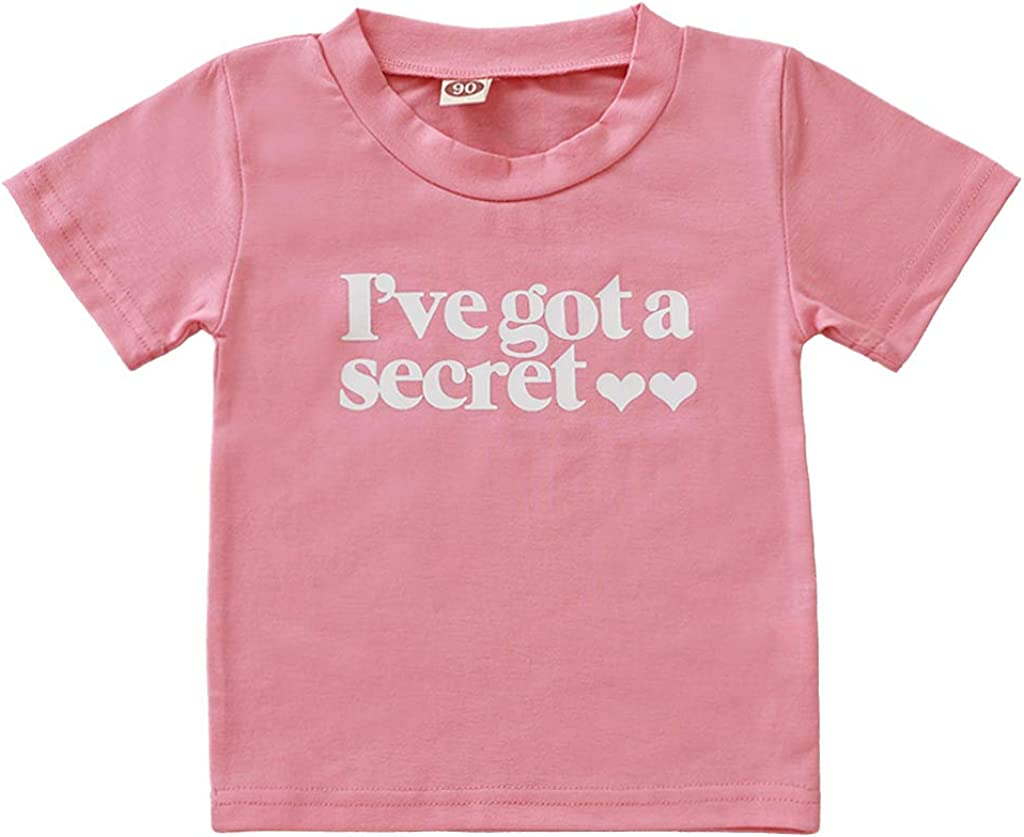 HBER Baby Toddler Little Girls Going to be Big Sister Cotton T-Shirt Clothes Short Sleeve Secret Letter Pink Tops