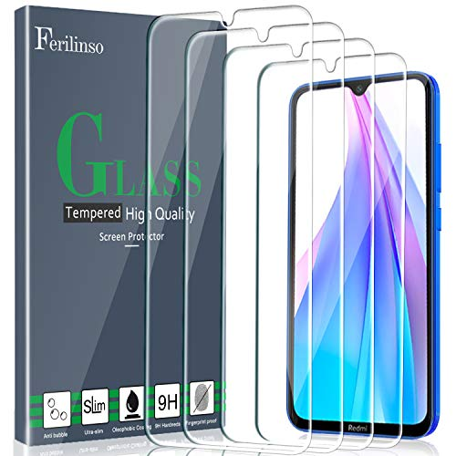 Ferilinso [4 Piezas] Protector de Pantalla para Xiaomi Redmi Note 8T, Cristal Templado Xiaomi Redmi Note 8T Vidrio Templado, [Compatible con la Funda][2.8d Borde Redondo]